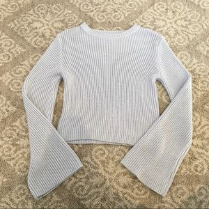 Forever 21 light blue bell sleeve knit sweater